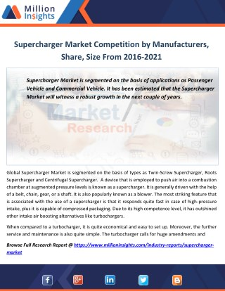 Supercharger Industry Manufacturers Analysis Forecast 2021 By Revenue Margin