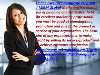Online Executive Certificate Programs selling its service/product and to MIBM GLOBAL