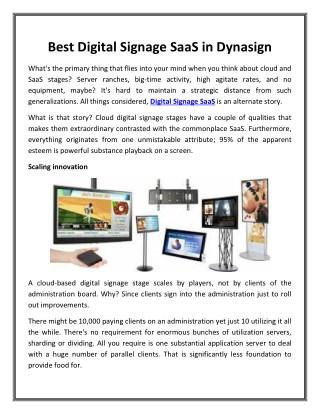 Best Digital Signage SaaS in Dynasign