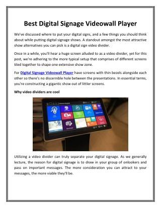 Best Digital Signage Videowall Player