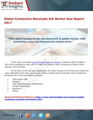 Global Conductive Nanotube Ink Market Trends Report 2017
