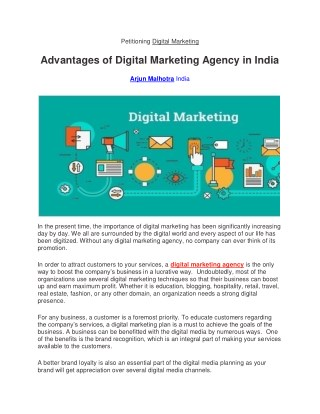 Advantages of Digital Marketing Agency in India