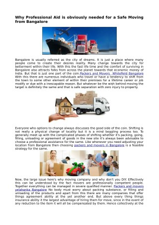 Economical Shifting with Packers and Movers in Bangalore