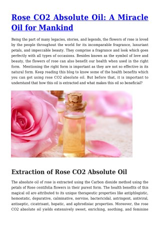 Rose CO2 Absolute Oil: A Miracle Oil for Mankind