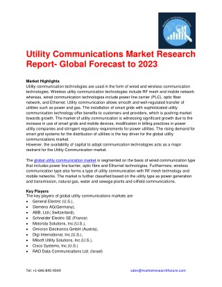Utility Communications Market Research Report- Global Forecast to 2023