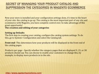 Secret of managing your product catalog and suppression the