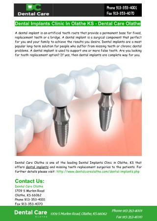 Dental Implants Clinic In Olathe KS - Dental Care Olathe