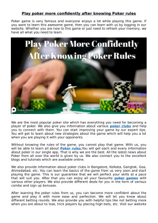 Play Poker More Confidently After Knowing Poker Rules