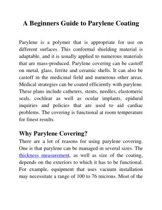 A Beginners Guide to Parylene Coating