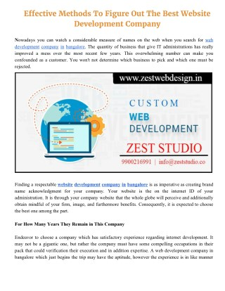Top Effective Methods to Find out Best Web Development Company in Bangalore