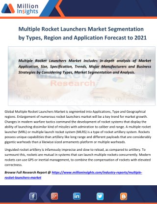 Multiple Rocket Launchers Market Segmentation by Types, Region and Application Forecast to 2021