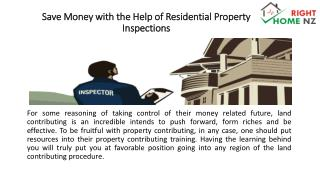 Save Money with the Help of Residential Property Inspections