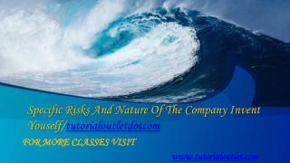 Specific Risks And Nature Of The Company Invent Youself/tutorialoutletdotcom