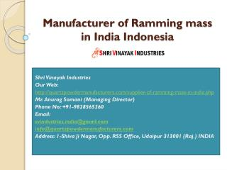 Manufacturer of Ramming mass in India Indonesia