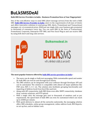 Bulk SMS Service Providers in India - Business Promotion Now at Your Fingerprints!