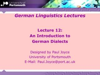 German Linguistics Lectures