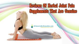Reviews Of Herbal Joint Pain Supplements That Are Genuine