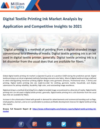Digital Textile Printing Ink Market Investment Feasibility Analysis 2021