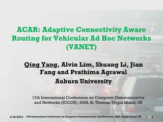 ACAR: Adaptive Connectivity Aware Routing for Vehicular Ad Hoc Networks (VANET)