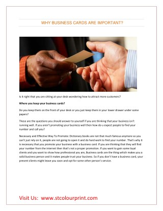 WHY BUSINESS CARDS ARE IMPORTANT?
