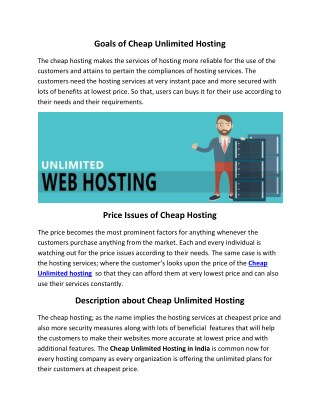 Cheap Unlimited Hosting