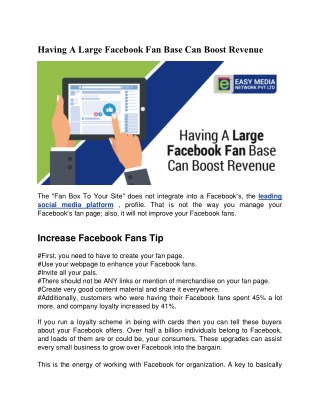 Having A Large Facebook Fan Base Can Boost Revenue