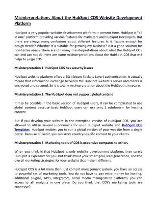 Misinterpretations About the HubSpot COS Website Development Platform