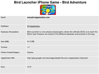 Bird Launcher iPhone Game - Bird Adventure Game