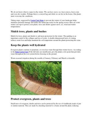 TIPS FOR WINTER CARE LANDSCAPE