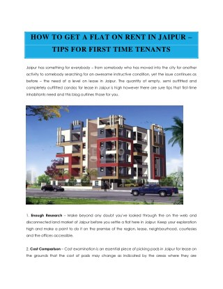 HOW TO GET A FLAT ON RENT IN JAIPUR – TIPS FOR FIRST TIME TENANTS | keys90.com