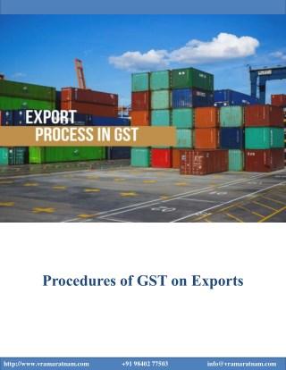 Procedures of GST on Exports
