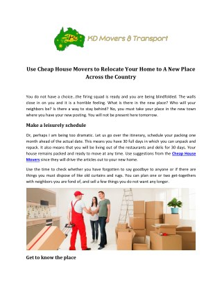 Cheap House Movers - KD Movers