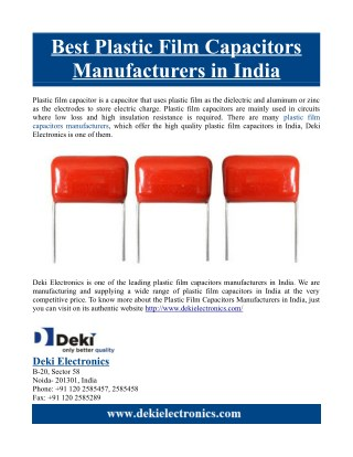 Best Plastic Film Capacitors Manufacturers in India