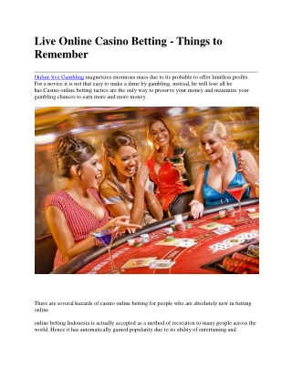 Live Online Casino Betting - Things to Remember