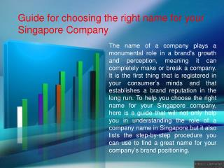 Guide for choosing the right name for your Singapore Company