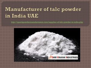 Manufacturer of talc powder in India UAE