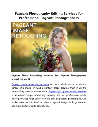 Pageant Photo Retouching Services | Pageant Photography Editing Services