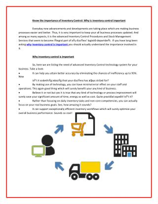Outsourcing & third party fulfillment strategies inventory control important services