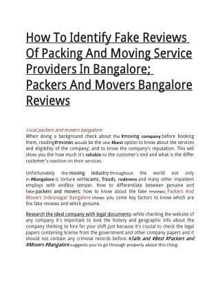How To Identify Fake Reviews Of Packing And Moving Service Providers In Bangalore