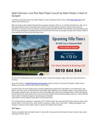Adani Samsara Upcoming Villa Floors In Gurgaon