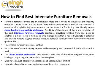 How to Find Best Interstate Furniture Removals