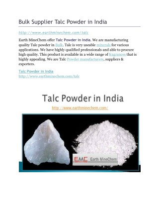Bulk Supplier Talc Powder in India