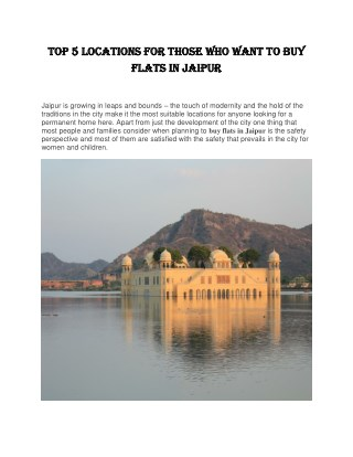 Top 5 Locations for Those Who Want to Buy Flats in Jaipur | Keys90.com