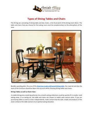 Types of Dining Tables and Chairs