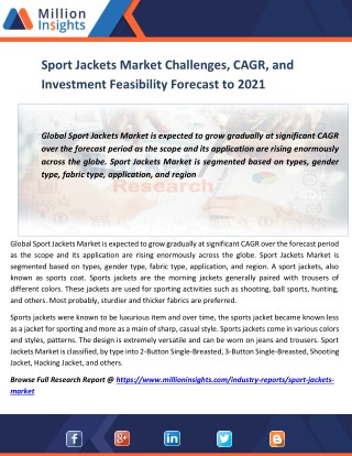 Sport Jackets Market Challenges, CAGR, and Investment Feasibility Forecast to 2021