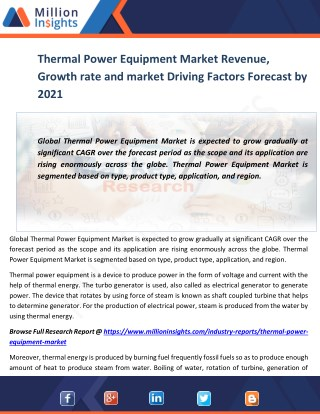 Thermal Power Equipment Market Revenue, Growth rate and market Driving Factors Forecast by 2021