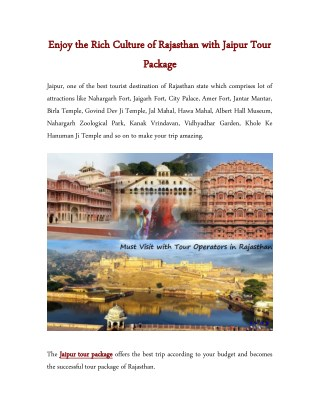 Enjoy the Rich Culture of Rajasthan with Jaipur Tour Package