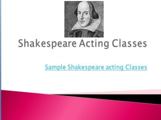 Find Top Shakespeare Acting Coaching NYC