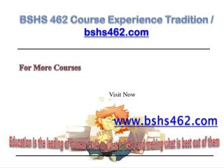 BSHS 462 Help Bcome Exceptional / bshs462.com