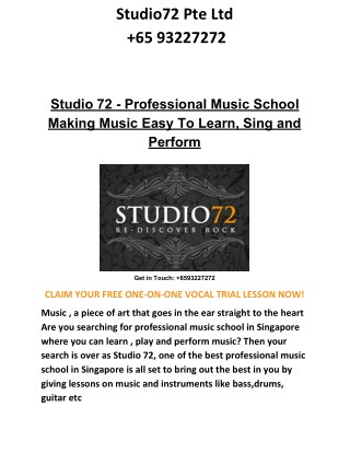 Studio 72 - Professional Music School Making Music Easy To Learn, Sing and Perform